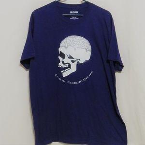Custom Graphic Tee, Large, Glitter Skull, Purple
